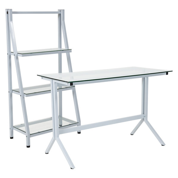 Wholesale Winfield Collection Glass Computer Desk and Bookshelf with White Metal Frame