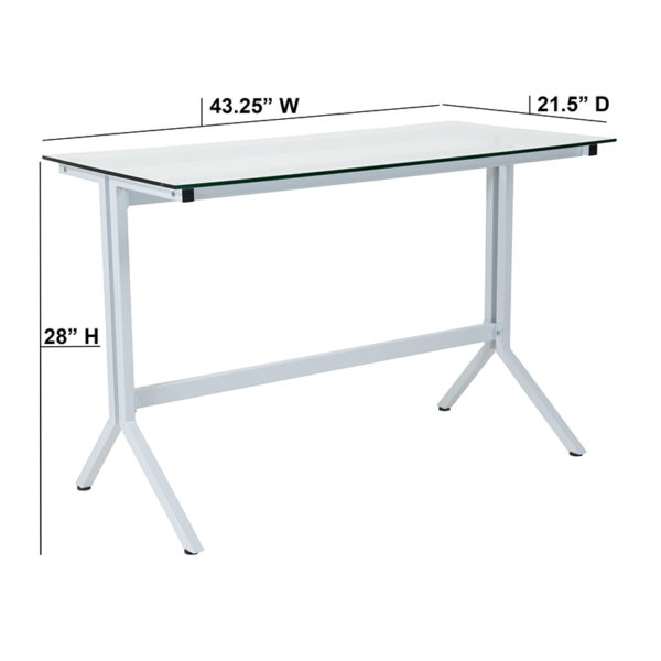 Lowest Price Winfield Collection Glass Computer Desk with White Metal Frame
