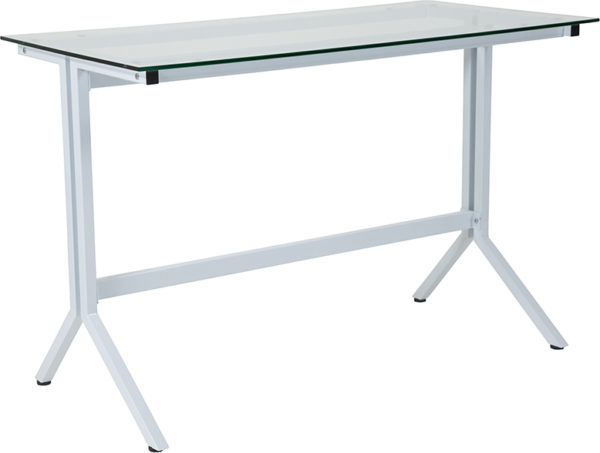 Wholesale Winfield Collection Glass Computer Desk with White Metal Frame