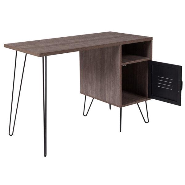 Lowest Price Woodridge Collection Rustic Wood Grain Finish Computer Desk with Metal Cabinet Door and Black Metal Legs