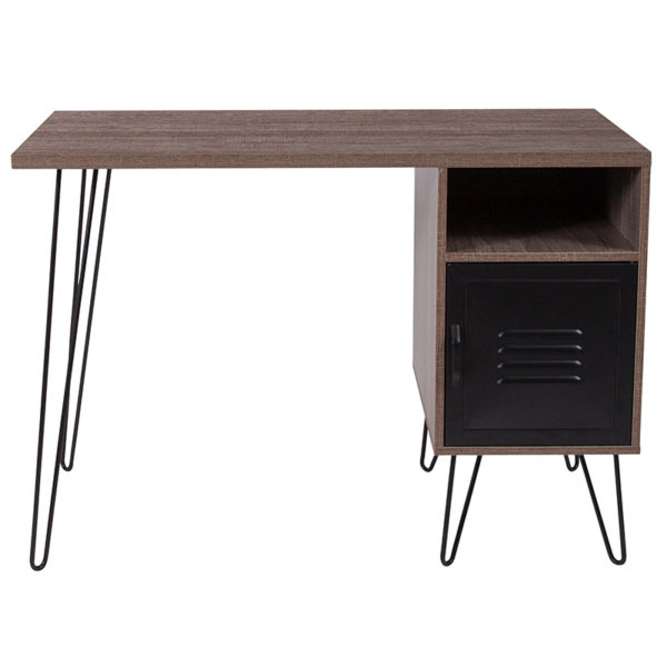 Contemporary Style Rustic Desk with Cabinet Door
