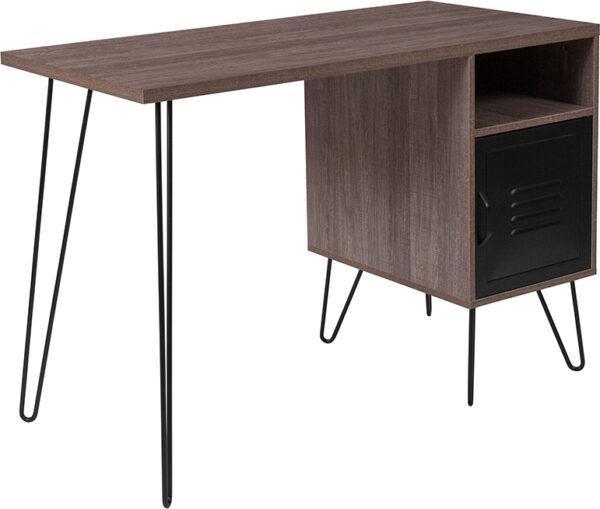 Wholesale Woodridge Collection Rustic Wood Grain Finish Computer Desk with Metal Cabinet Door and Black Metal Legs
