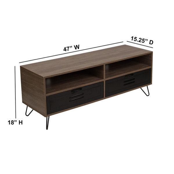 Lowest Price Woodridge Collection Rustic Wood Grain Finish TV Stand with Metal Drawers and Black Metal Legs