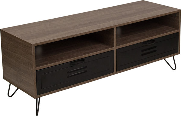 Wholesale Woodridge Collection Rustic Wood Grain Finish TV Stand with Metal Drawers and Black Metal Legs