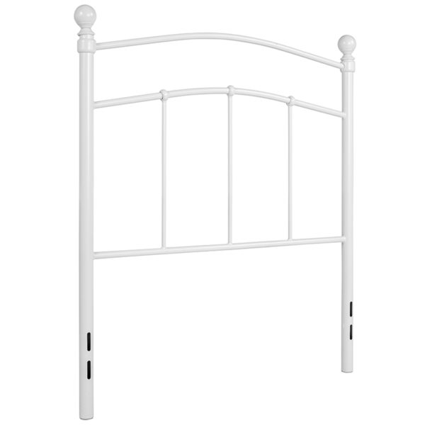 Contemporary Style White Metal Twin Headboard