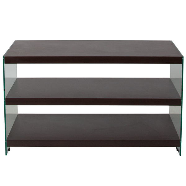 Lowest Price Wynwood Collection Dark Ash Wood Grain Finish TV Stand with Shelves and Glass Frame