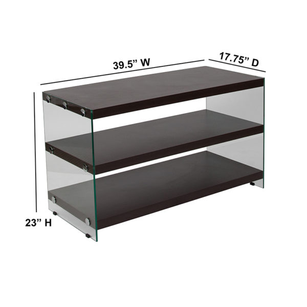 Contemporary Style Dark Ash TV Stand with Shelves