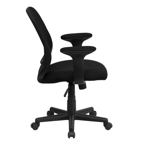 Lowest Price Y-GO Office Chair™ Mid-Back Black Mesh Swivel Task Office Chair with Arms