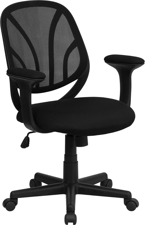 Wholesale Y-GO Office Chair™ Mid-Back Black Mesh Swivel Task Office Chair with Arms